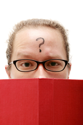 Reader with question on forehead